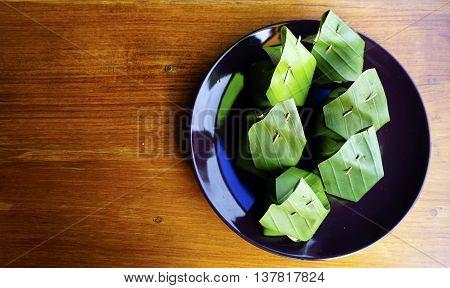 Sweet Dessert Sticky Rice Thai Custard