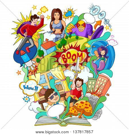 vector illustration of Book of Knowledge for Comics and Superhero