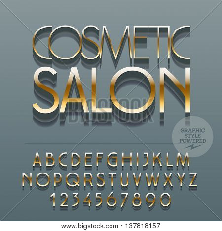 Set of slim glossy metal alphabet letters, numbers and punctuation symbols. Vector reflective logo with text Cosmetic salon. File contains graphic styles