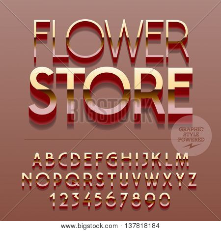 Set of slim glossy metal alphabet letters, numbers and punctuation symbols. Vector reflective plastic sign with text Flower store. File contains graphic styles