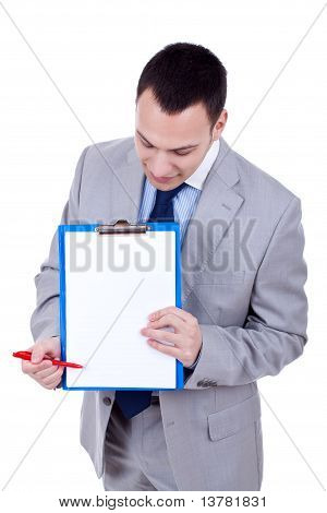 Business Man Showing Clipboard