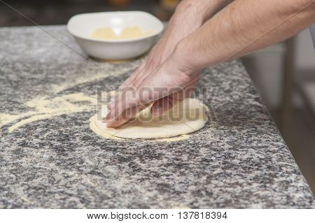 Woman Chef With Raw Dough.