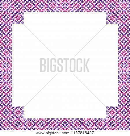 Frame with pink and violet patterns on canvas abstract embroidery