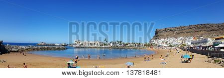 a bautiful view of the beach of mogan harbour