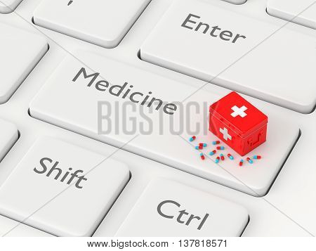 3D Rendered Keyboard With First Aid Kit And Pills