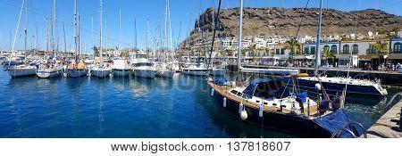 View of the harbor of Puerto de Mogan