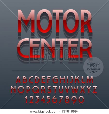Set of slim glossy metal alphabet letters, numbers and punctuation symbols. Vector reflective plastic emblem with text Motor center. File contains graphic styles