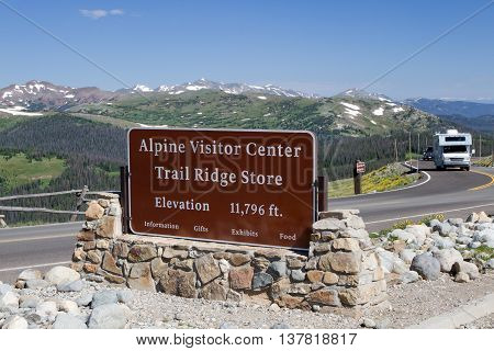 The Alpine Visitor center sits at the top of Trail Ridge Road in Rocky Mountain National Park at an elevation of 11796 feet above sea level