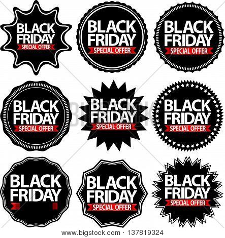 Cyber Monday Special Offer Black Signs Set, Vector Illustration
