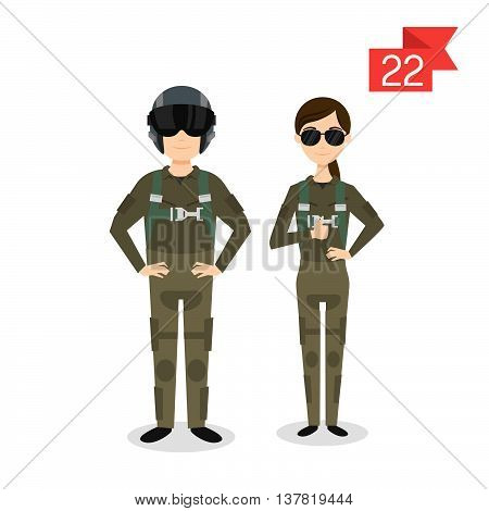 Vector profession characters: man and woman. Fighter pilot.
