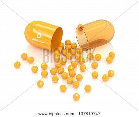 3D Rendering Vitamin D Capsule Lying On White
