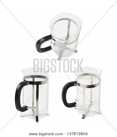 Empty glass french press coffee pot isolated over the white background, set of three different foreshortenings