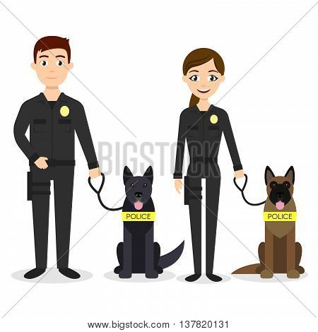 Vector characters: two young police officers man and woman with their police dogs