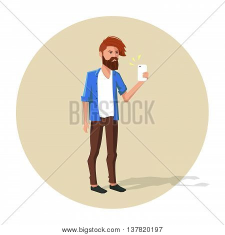 Vector illustration of hipster character making selfie