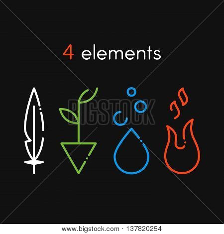 Vector Nature basic elements: Water Fire Earth Air. Icons on dark background
