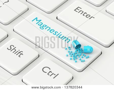 3D Rendered Magnesium Mg Pill Lying On Keyboard