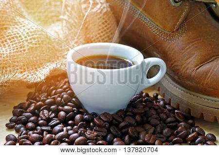 coffee background and boot and sacks of coffee bean