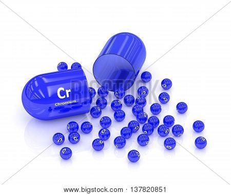 3D Rendered Chromium Cr Pill Over White Background