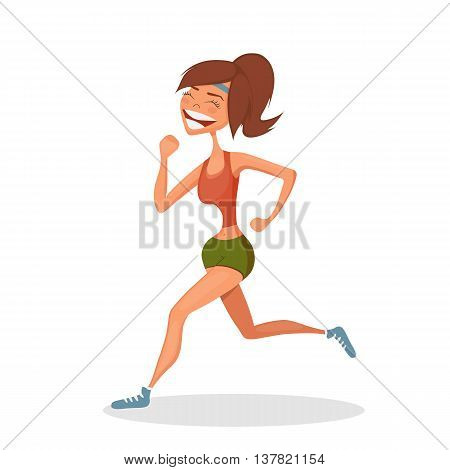 Running smiling girl. Sport concept. Hand-drawn element. Eps10 vector illustration. Isolated on white background.