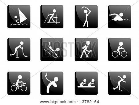 Sammlung von schwarz glänzend Sport Icons, Vektor-illustration