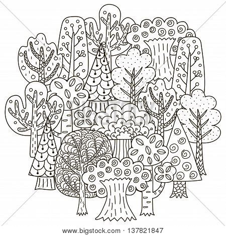 Circle shape pattern with fantasy trees for coloring book. Black and white magic forest background. Vector illustration