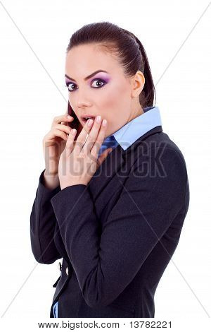 Business Woman Worried On Phone
