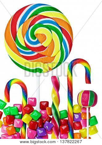 Colorful candies and sweets isolated on white background