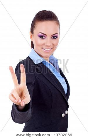 Business Woman Showing Victory Sign