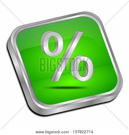 glossy green Discount button - 3D illustration
