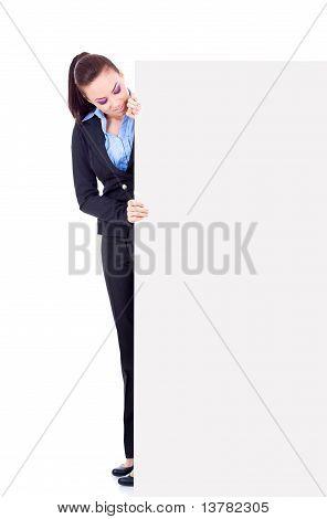 Business Woman Peeking