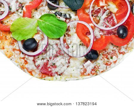 pepperoni pizza background with vegetables on a white background