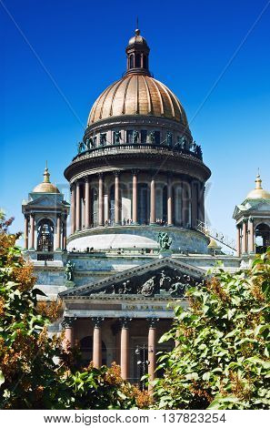 view of St. Isaac's Cathedral in St. Petersburg Russia