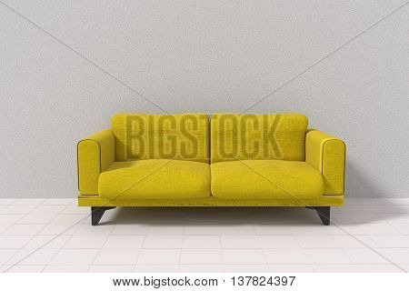 3D rendering of Yellow sofa in the white plain room