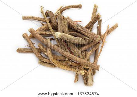 Organic dry barks of Indian Jalap or Nishodh (Operculina turpethum) isolated on white background. Macro close up. Top view.