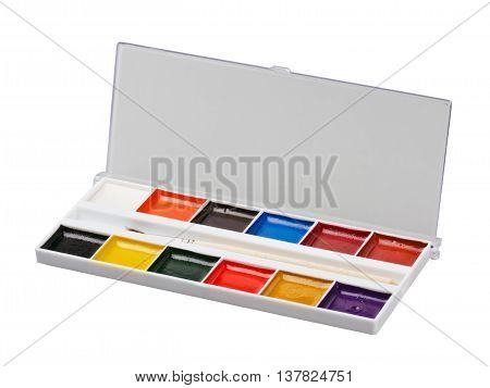 Aquarelle colors in a plastic box isolated on a white background