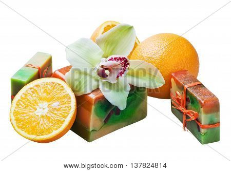 handwork soap with aroma of orange and an orchid
