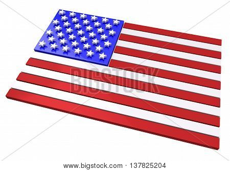 3D model of an American flag in relief against white