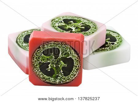 strawberry natural handmade soap with loofah care
