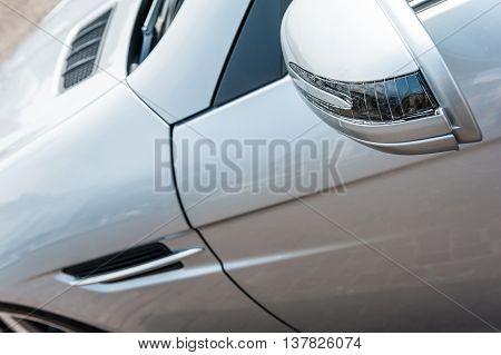 Close up of a grey modern sport car