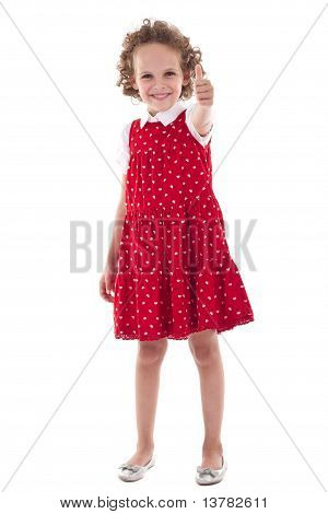 Little Girl Gesturing Thumbs Up