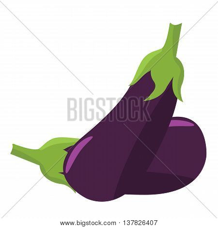 Eggplant icon with flat color style design. Illustrated vector for organic food concept