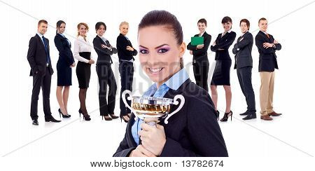 Winning Businessteam, Female Holding Trophy