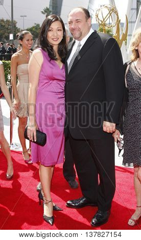 James Gandolfini and Deborah Lin at the 2008 EMMY Creative Arts Awards held at the Nokia Theater in Los Angeles, USA on September 13, 2009.