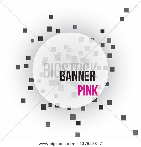 white round banner on gray background with dark rectangular elements. Vector illustration