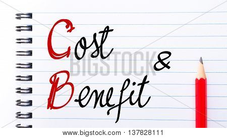Cb Cost Benefit Written On Notebook Page