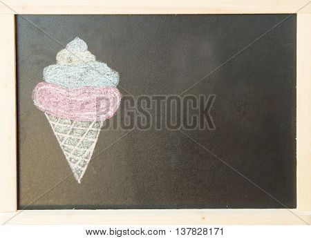 Chalk on black board: ice cream. A close up