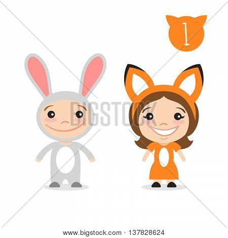 Vector illustration of two happy cute kids characters. Boy in rabbit or bunny costume and a girl in fox costume.