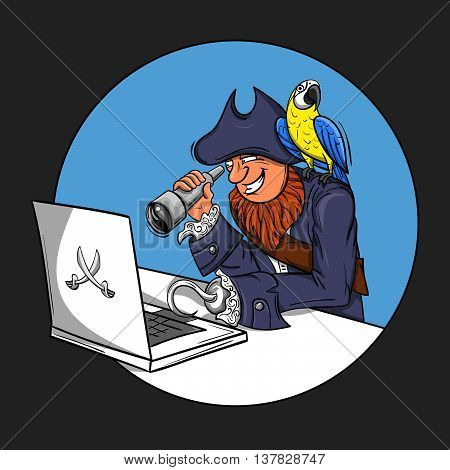 Vector illustration of pirate sitting in front of the computer looking through a Spyglass into the monitor. parrot sitting on the pirate's shoulder. Concept of cyber pirate.