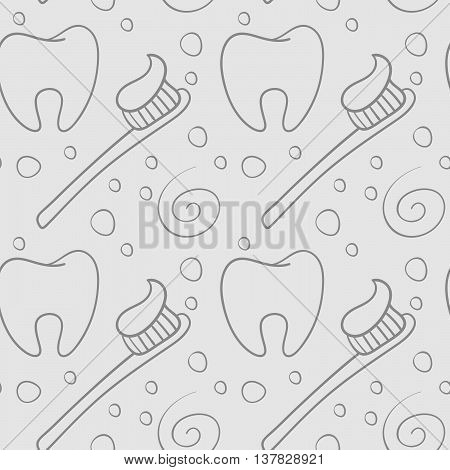 Vector seamless pattern with teeth an toothbrushes.