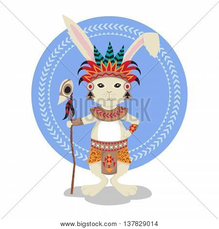Vector illustration of rabbit or bunny shaman. Feathers ceremonial clothes. Rabbit print for t-shirt or poster. Vector art. Native American Indian Aztec motifs.